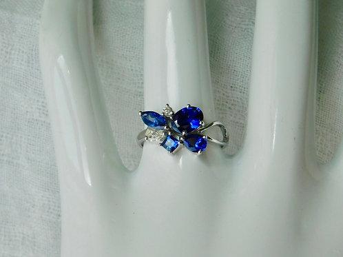 ブルーサファイアとダイアモンドの花束 18k