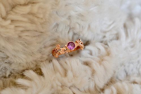 ピンクサファイア 唐草模様の指輪 18k