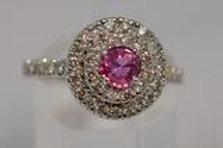 ピンクサファイアとダイアモンドの指輪  18k