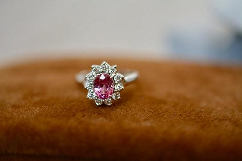 1.34ct ピンクサファイアとダイアモンドの指輪 18k