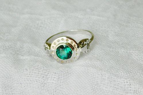 0.8ctブルーグリーンのトルマリンの指輪 18k