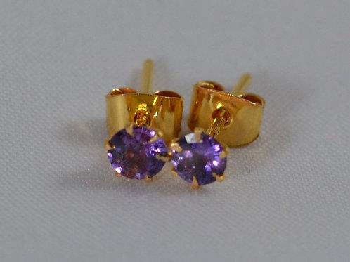 紫サファイアのピアス 21k