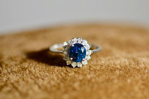 1・95ct ブルージルコンとダイアモンドの指輪