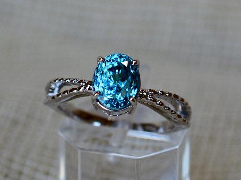 3ct ブルージルコンの指輪 18k