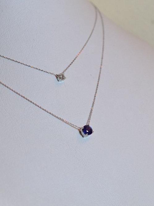 0.5ctブルーサファイアとダイアモンドのネックレス 18k
