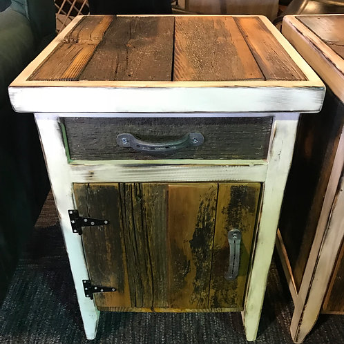 Reclaimed Wood End Table -White