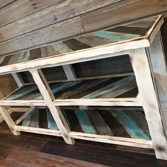 teal + grey farmhouse hallway table