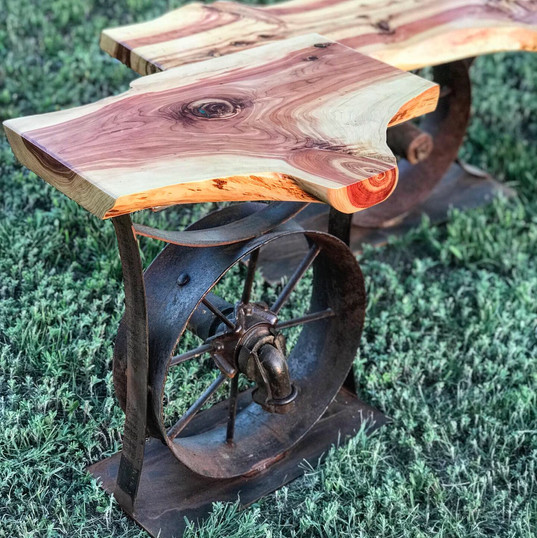 vintage wheel end table