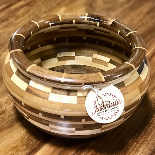 Mixed Wood Hand-Turned Bowl