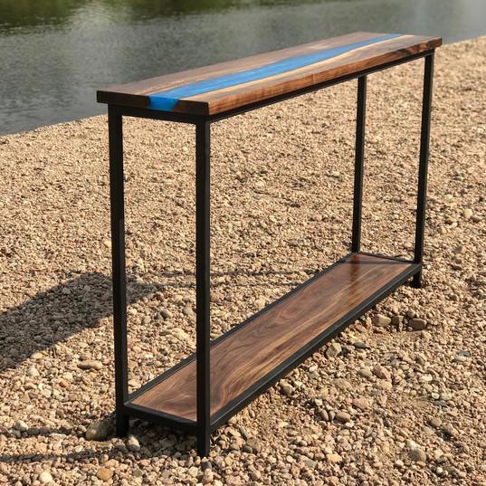 walnut hallway table w/epoxy river