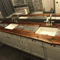 walnut + grey river bathroom countertop