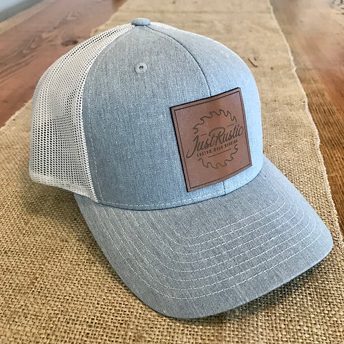 Leather Patch Hat - Grey + White