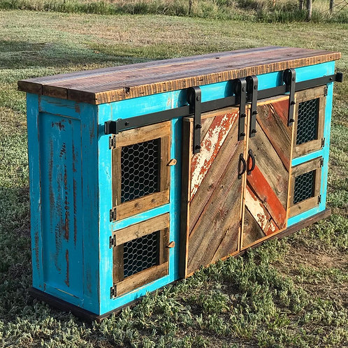 Teal Chicken Coop Console Table