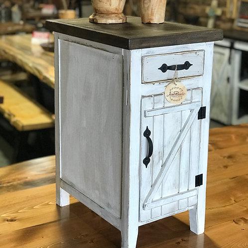 White Mini Hutch End Table (Narrow)