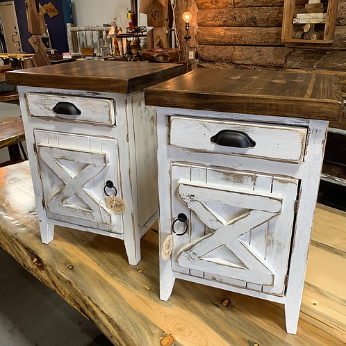 White Mini Hutch End Table (Cup Pull Drawer)