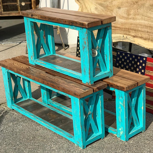 Teal Boot Benches