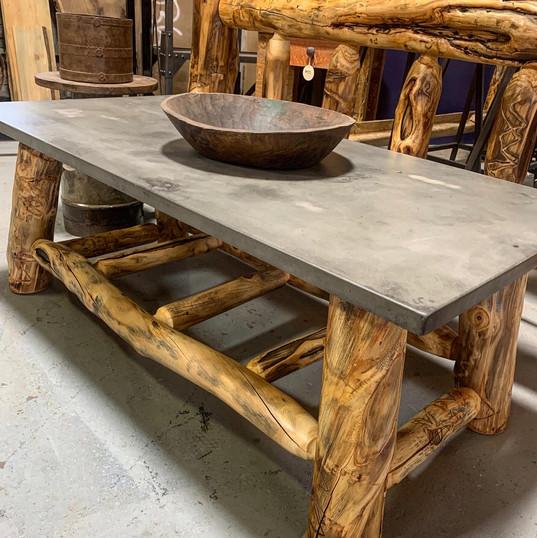 concrete top + aspen leg coffee table