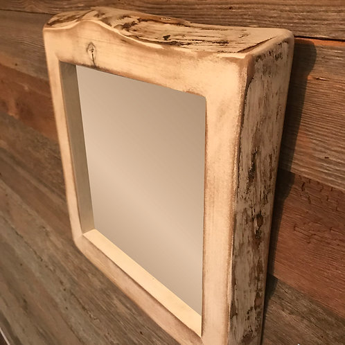 Distressed White Walnut Mirror