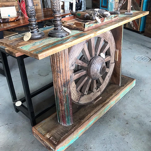 Wagon Wheel Sofa Table
