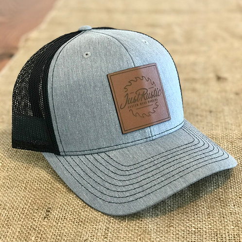 Leather Patch Hat - Grey + Black