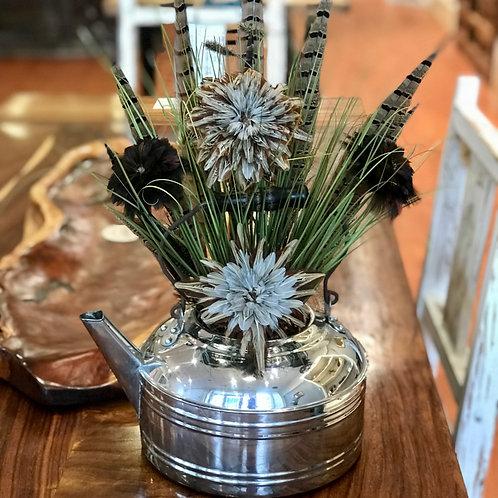 Silver Antique Tea Kettle Arrangement