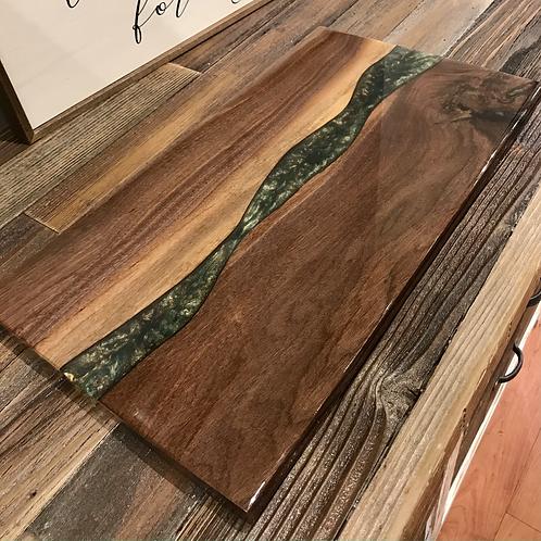 Walnut + Green Epoxy Serving Board