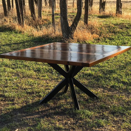 """square """"plank top"""" walnut table"""