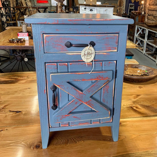 grey + red mini hutch end table
