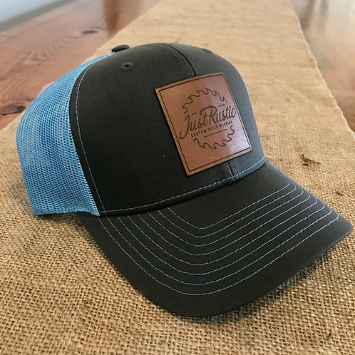 Leather Patch Hat - Grey + Blue