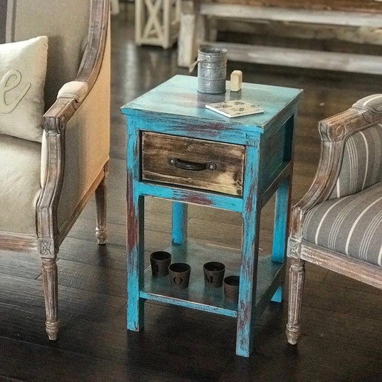 teal + red rustic end table
