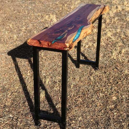 cedar + teal epoxy hallway table