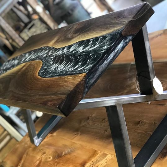 metallic black epoxy coffee table
