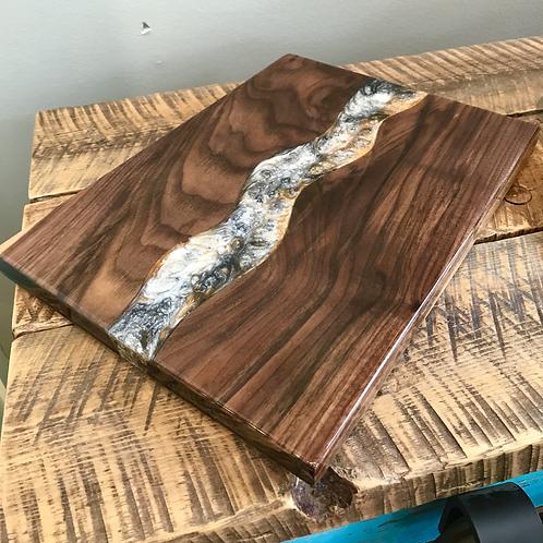 Walnut + Epoxy Swirl Serving Board