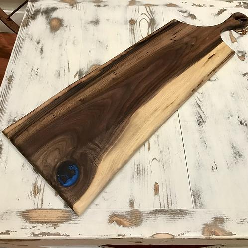 Walnut + Blue Epoxy Cutting Board