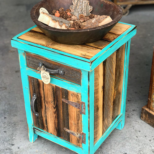 Reclaimed Wood End Table - Teal