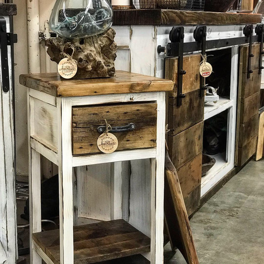 end table with reclaimed hemlock