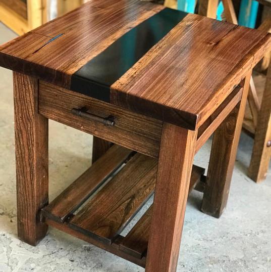 farmhouse end table w/black epoxy river