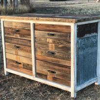 Reclaimed Wood Dresser w/Tin Sides