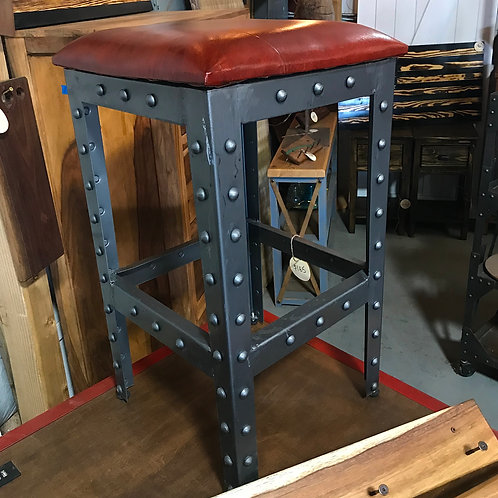 Red Upholstered Rivet Stool
