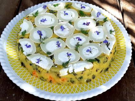 Tarte sans gluten aux légumes, algues et polenta