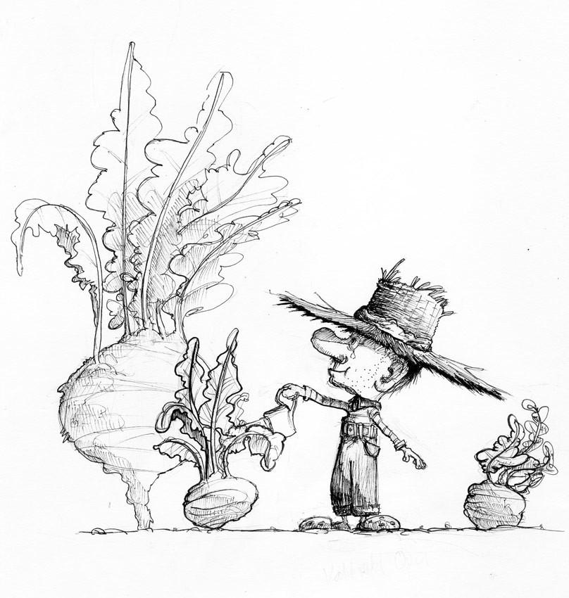 Bild 10 für den Inktober 2017, ein kleiner Opa gießt seine Kohlrabi