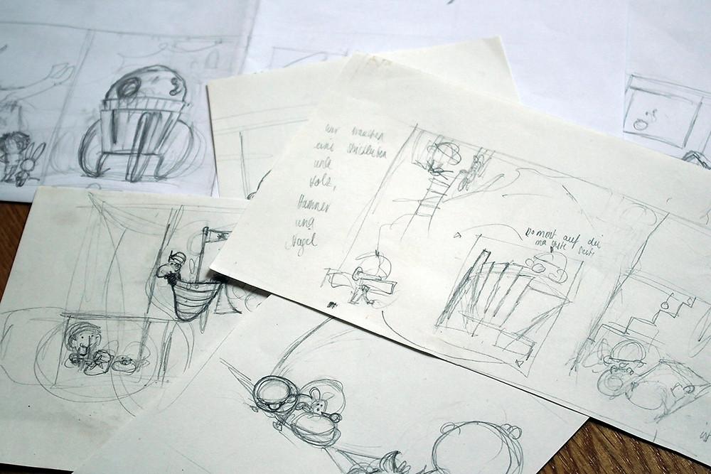 Skizzen zu verschiedenen Kinderbuch Geschichten
