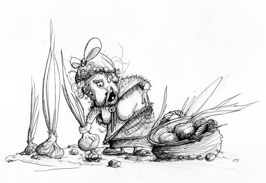 Bild 04 für den Inktober 2017, eine alte Oma sammeln Zwiebeln ein