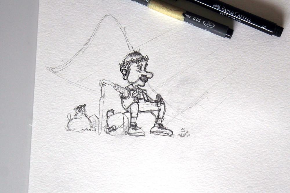 Skizze Wanderer