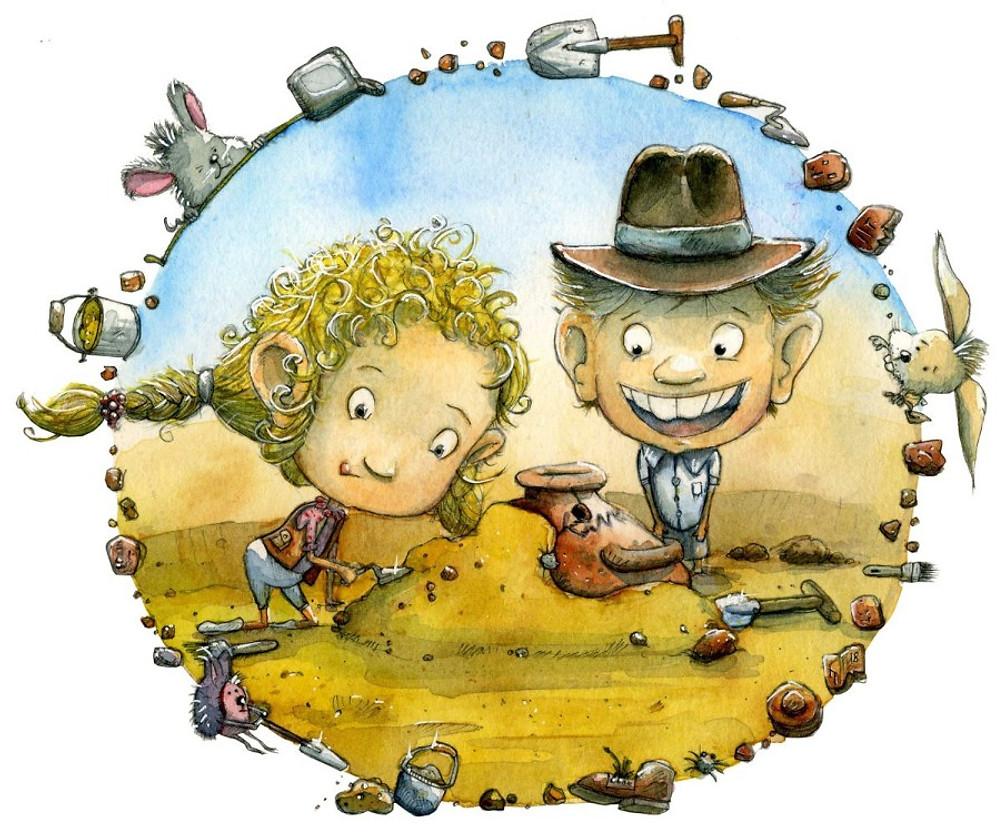 Illustrator Kinder Ausgrabung