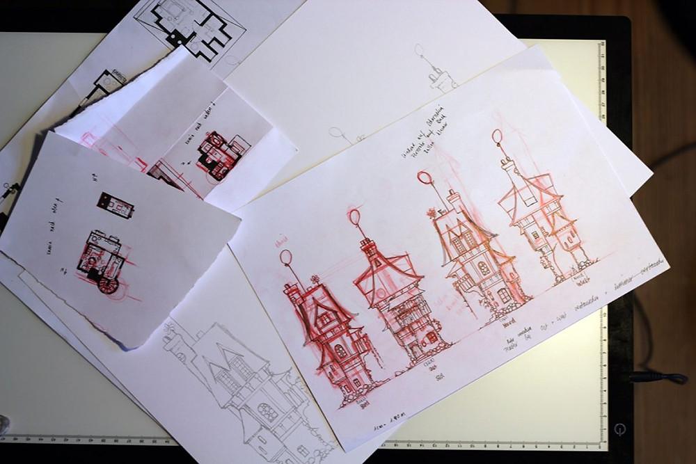 Alle vier Seiten des Hauses werden gezeichnet