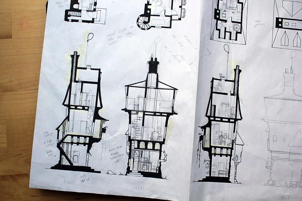 Innenansicht - die Details zeichnen (ganz rechts noch ein unbearbeiteter Seitenanriss)