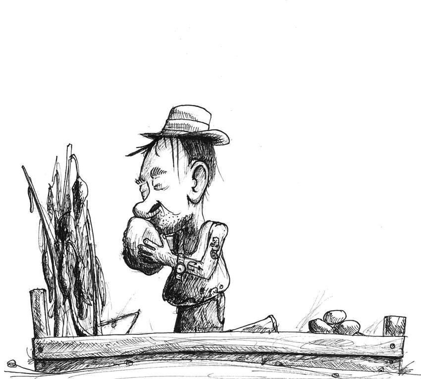 Bild 06 für den Inktober 2017, ein älterer Zuhälter küsst eine dicke Kartoffel