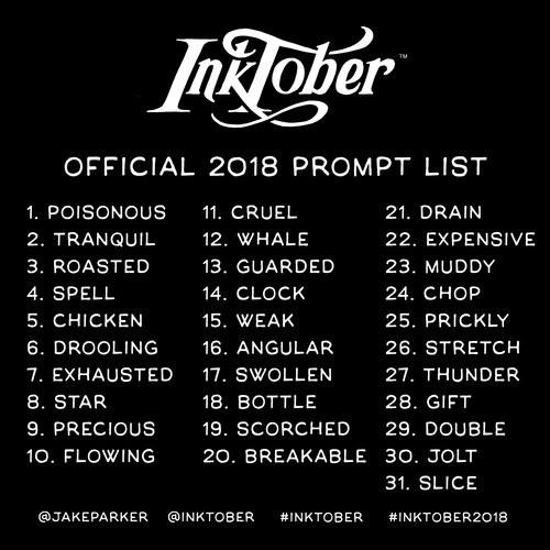 inktober2018 list english