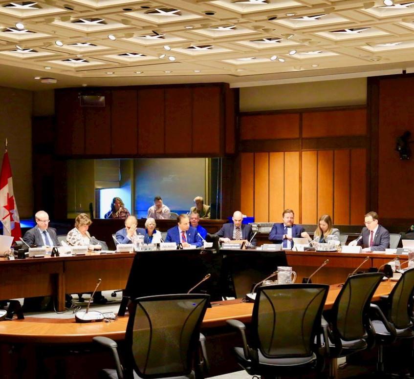 加拿大国会外交和国际发展常设委员会二零一九年二月二十七日下午修改并全体通过了S-240号法案。图为加拿大国会外交和国际发展常设委员会听证会现场。 (明慧网)